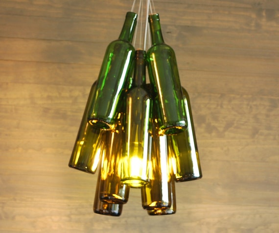 items similar to upcycled ombre wine bottle chandelier on etsy. Black Bedroom Furniture Sets. Home Design Ideas