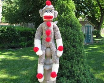 Brown Sock Monkey Doll Handmade BopBo the Monkey Rockford Red Heel Sock