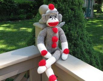 BopBo the Sock Monkey Doll Brown Handmade Rockford Red Heel Socks