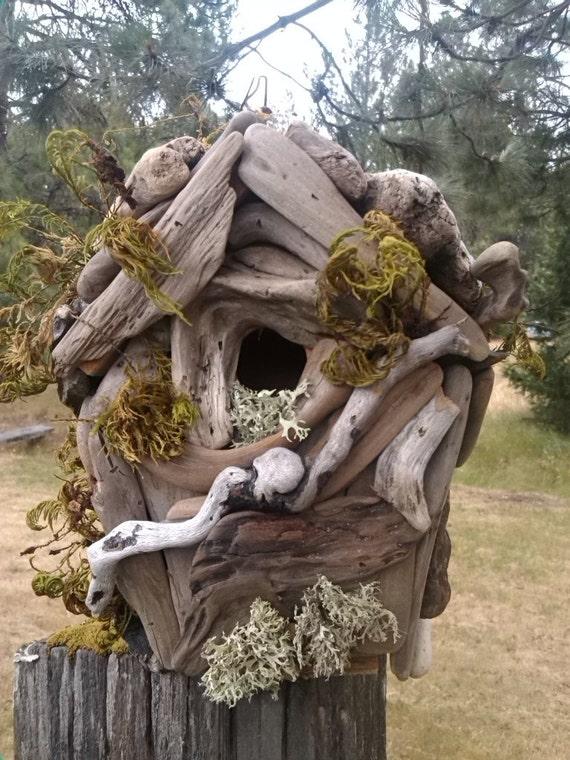 Hand Made Driftwood Birdhouse Outdoor Garden Decorgift