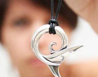 Shark tail necklace , silver Shark Spirit koru pendant.