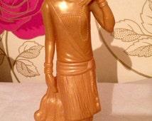 Vintage Avon Gold Perfume Bottle - 1920s Design Flapper Girl bottle