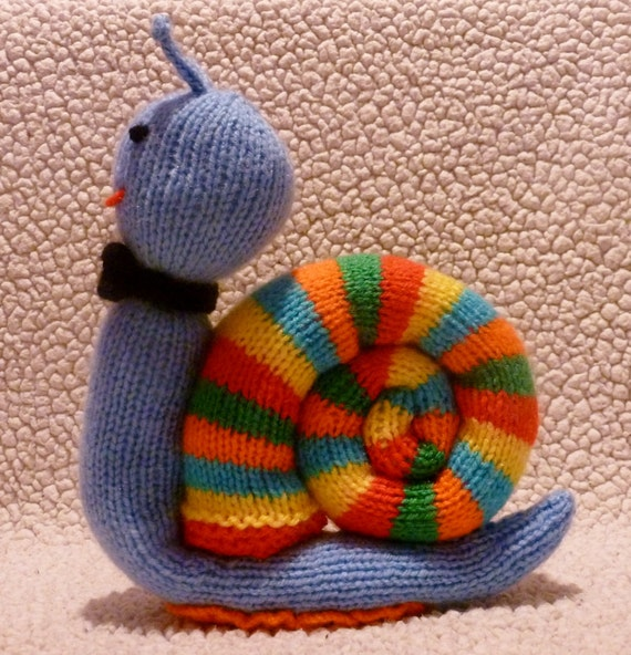 Knitting Pattern For Toy Snail : Sally Slowly and Trevor Trailmaker Snail Baby Toy Knitting ...