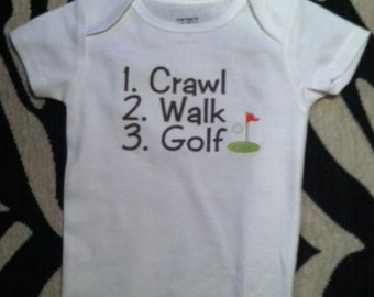 Golf baby shirt  infant golfing clothes one piece bodysuit outfit, you choose color and size! Future Golfer