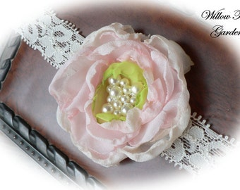 Ivory, Pink & Green Chiffon Headband...Infant/Toddler/Girl/Adult Flower Headband..Photo Prop..Flower Girl Headband