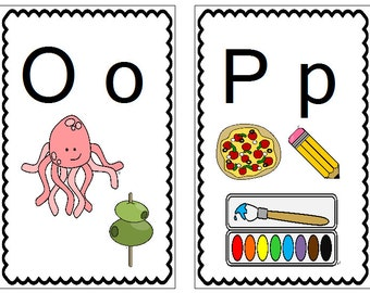 Alphabet Wall Cards, Preschool, Kindergarten, ABC's Flashcards, letters