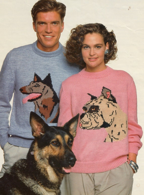 pdf vintage knitting pattern his and hers dog sweaters boxer