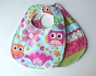 Baby Bib Set - Pink Owl Bibs- Pink Owl Bib - Terry Cloth Bib - Baby Shower Gift - Pink Orange Owls - Pink Owl Bibs - Baby Girl Bibs