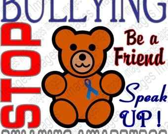 Printable Stop Bullying Digital Image for Instant Download Anti Bullying Image to Add to T Shirts Jackets Posters Coffee Mugs for Awareness