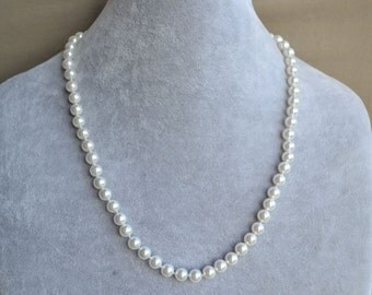 white pearl Necklace,mother of pearl Necklace,Wedding Necklace,bridesmaid necklace,Jewelry