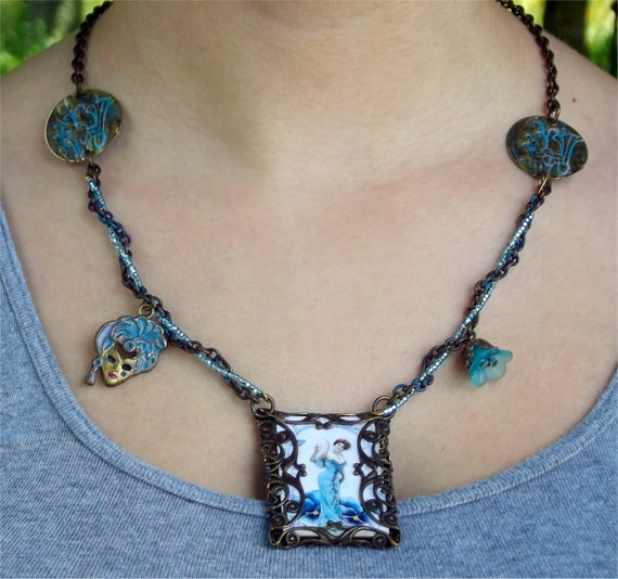 Lady Sings the Blues Steampunk Necklace Romatic Victorian Inspired Pendant with Natural Brass Chain and Aqua Blue Seed Beads OOAK
