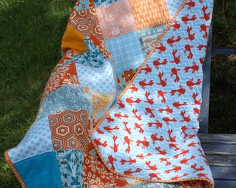 Orange and Aqua Modern patchwork Baby Quilt Flannel Back