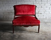 Red Velvet Victorian Antique Settee Chair