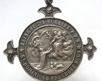 Gorgeous Old religious medal Queen of the Holy Rosary