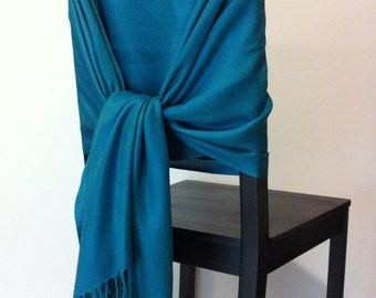 TEAL PASHMINA, Teal Pashmina Scarf, Teal Pashmina Shawl, Teal Wedding Shawl, Pashmina Wrap, Bridesmaid Shawls, Wedding Favors, Chair Covers