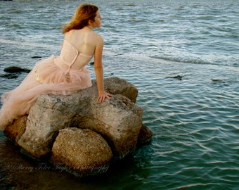 """Fine Art Photography - """"Waiting on the Tide"""" Figure Photography Fashion Photography,Mermaid,Muse,Waiting,Beach,Pink,Boho,Select Size"""