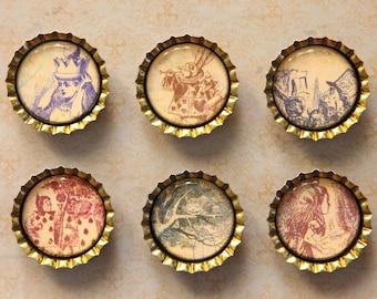 Set of 6 Alice in Wonderland Bottlecap Magnets: including Alice, Cheshire Cat, Mad Hatter, Rabbit & the Queen's Card Men