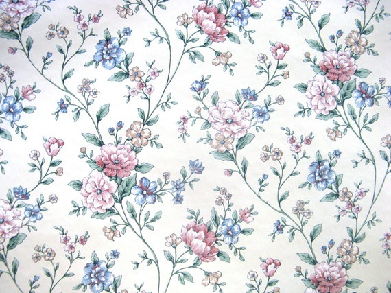 Blue Rose Vintage Wallpaper Vinyl Rose Blue Vintage