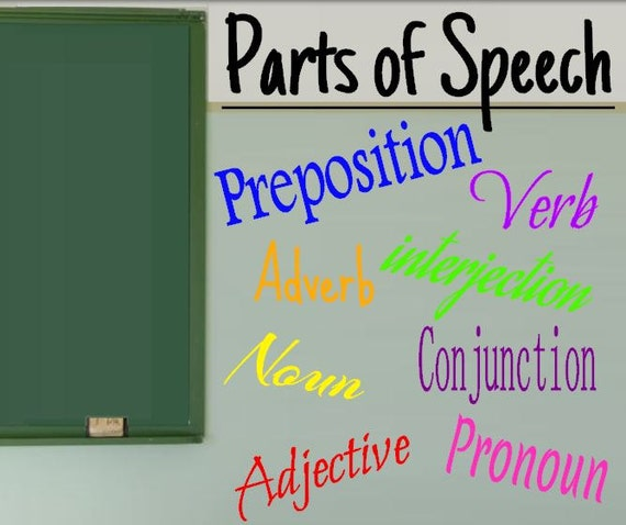 Classroom Decor Vinyl ~ Parts of speech vinyl decals classroom decor wall decal