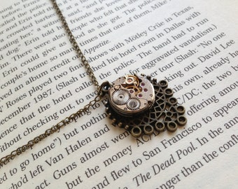 "Handmade STEAMPUNK Pendant Necklace With Vintage Watch Movement - ""Leaf"""