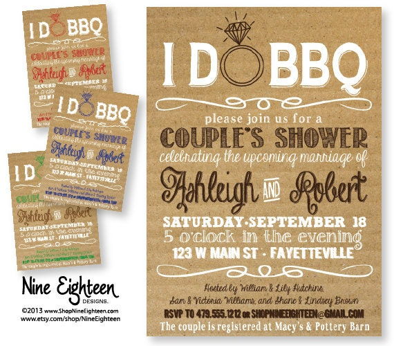I Do BBQ Couples Shower Barbeque Bridal Shower By NineEighteen