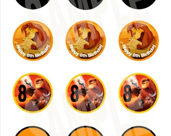 "Personalized 2"" Lion King Cupcake Toppers"