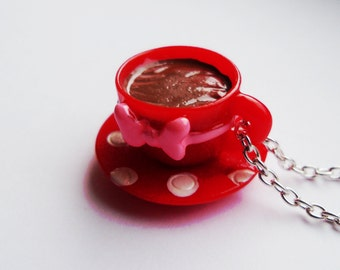Cute Red Polka Dot Kawaii Resin Teacup Necklace, Tea cup, Spot, Alice in Wonderland, Tea Party