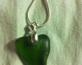 Green Heart Shaped Sea Glass Necklace