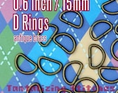 0.6 inch / 15mm Antique Brass or Nickel Finish Unwelded D Rings - Choose from 240, 600, and 1500 pieces