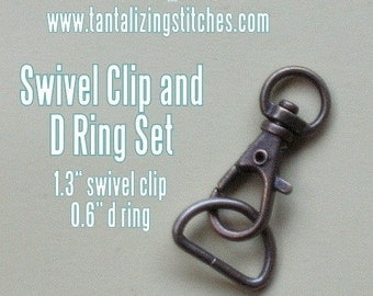 34mm / 1.3 Inch Swivel Clips with Matching D Ring in Antique Brass - Choose from 240, 600, and 1500 sets