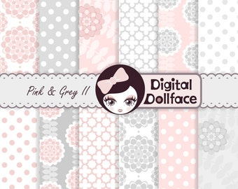 Pink Flower Digital Paper, Background Clipart Paper, Light Pink and Gray Decorations