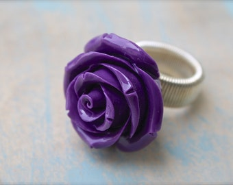 Purple Resin Cabochon Adjustable Statement Ring