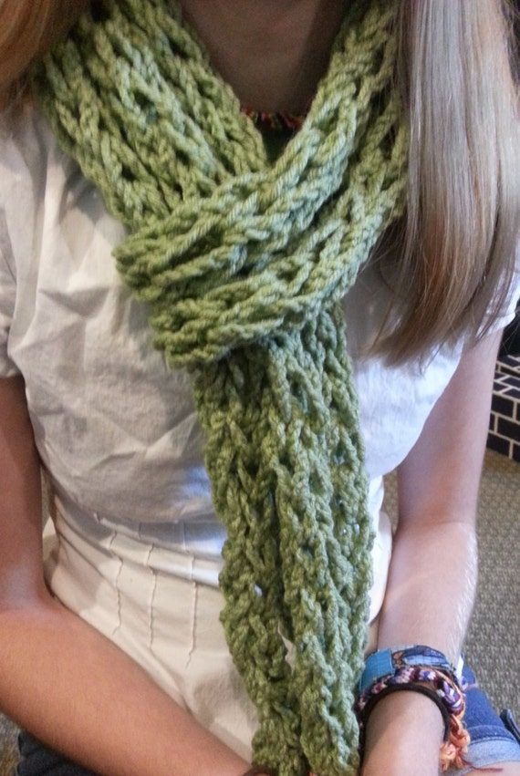Items similar to Warm-Fuzzies Finger Crochet Scarf on Etsy