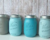 Stormy Monday,Ombre, Weddings,Painted Mason Jars,Wedding Decor, Home decor, Bridal Shower, Table Settings, Blue, Gray, teal, Reception