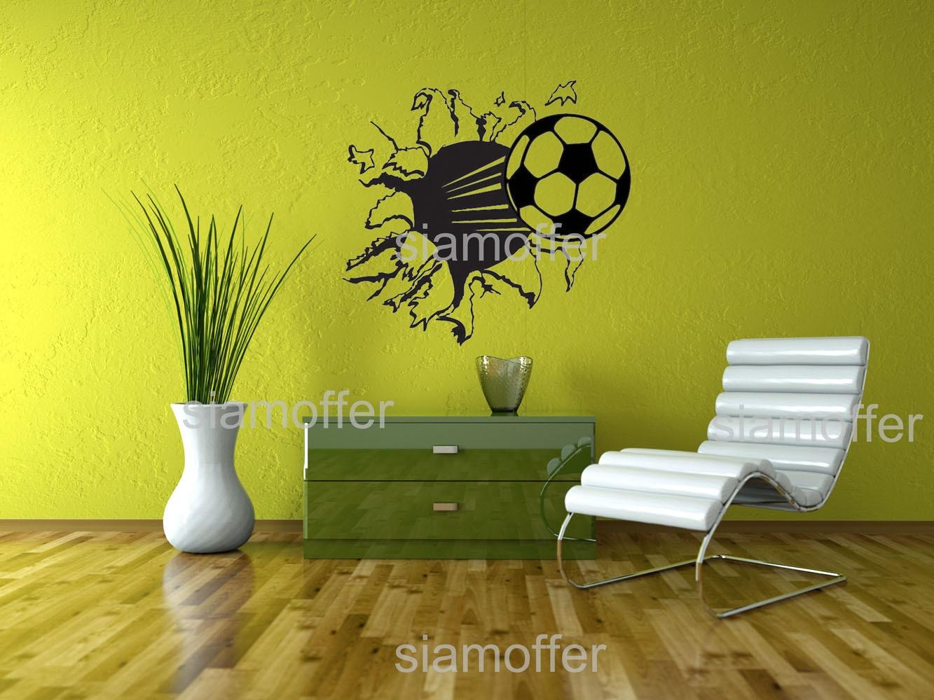 football soccer ball hit break through wall hole details wall decal sticker football soccer ball