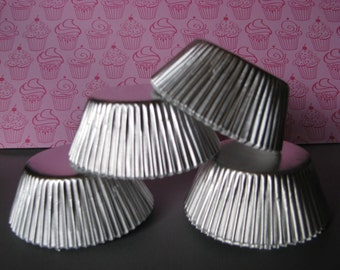 50 Silver Foil Baking Cups/ Silver Cupcake Wrappers/ Silver Cupcake liners