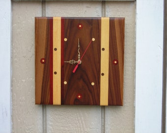 "Handmade Wood Clock ***""FREE SHIPPING***"