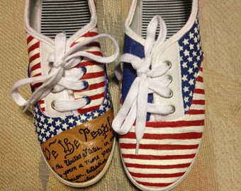 Custom Hand Painted Independence Day Shoes- Personalized to any design, college, or character(s) you want