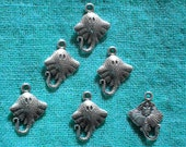 6 Silver Stingray Charms