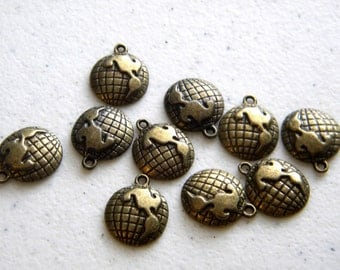 10 Small Bronze Globe Charms - 16mm - World Charms - Steampunk Charms
