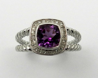 Natural Amethyst Diamond Ring 925 Sterling Silver