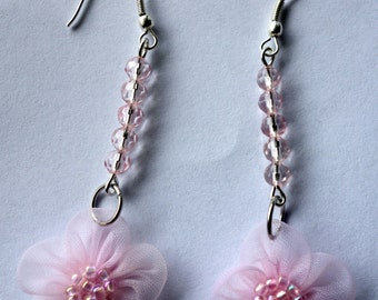Tissue and glass bead pink flower earring