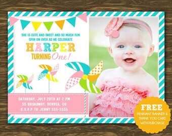 Pinwheel Birthday Invitation - Printable - FREE pennant banner and thank you card with purchase