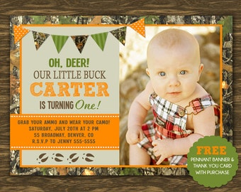Hunting Birthday Invitation - Printable - FREE pennant banner and thank you card with purchase
