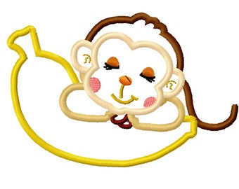 monkey sleeping on banana machine embroidery design