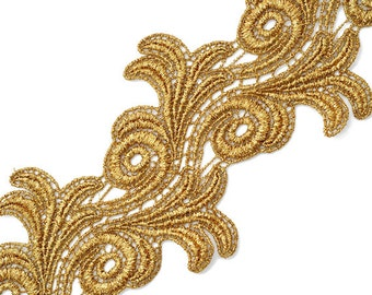 Metallic Lace Trim for Bridal, Costume or Jewelry, Crafts and Sewing, 4 Inch by 1 Yard, LP-MX-4659