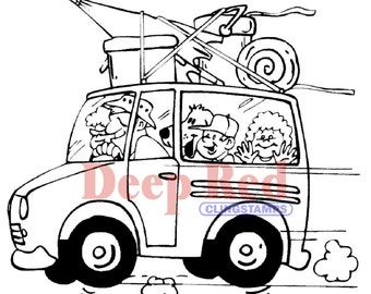 Summer Vacation - Deep Red repositionable cling rubber stamps