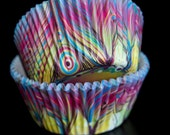 Peacock Feather Cupcake Liners