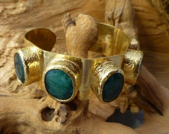 Emerald and Brass Nest Cuff