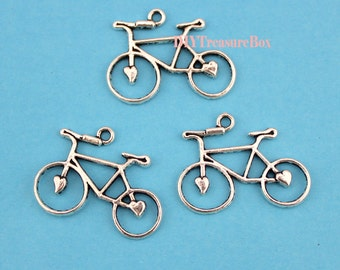15pcs Bicycle Charms-- Antique Silver Lovely Bike Charm Pendant ,23x30mm
